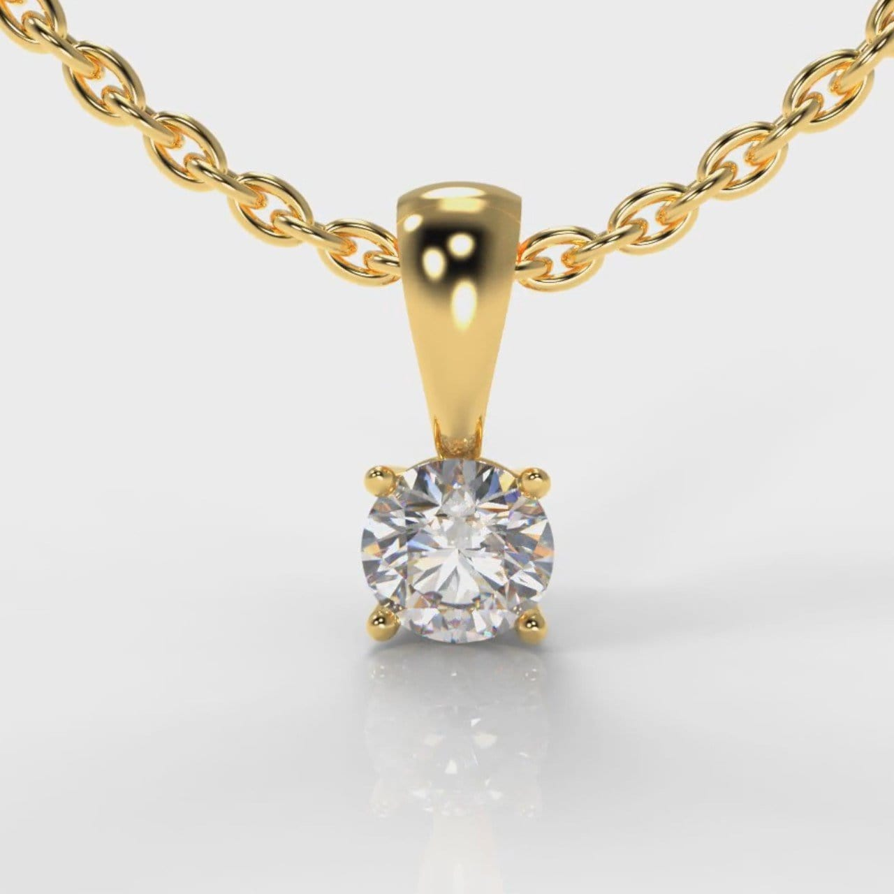 Four Claw Diamond Pendant (Lab Grown Diamond) - Yellow Gold