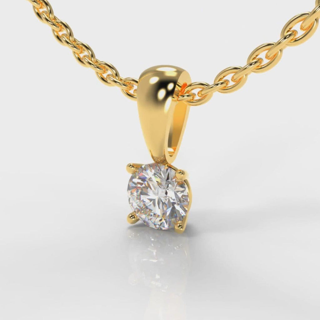 Four Claw Diamond Pendant - Yellow Gold