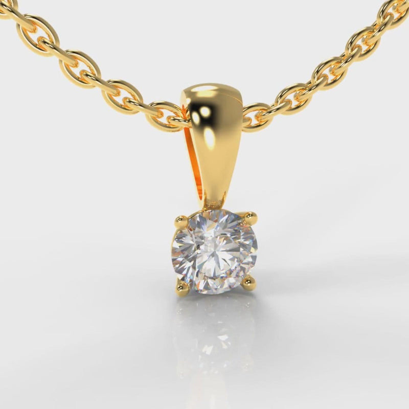 Four Claw Diamond Pendant (GIA Certified) - Yellow Gold