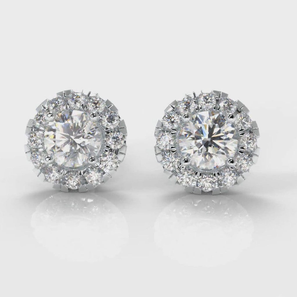 Halo Diamond Stud Earrings