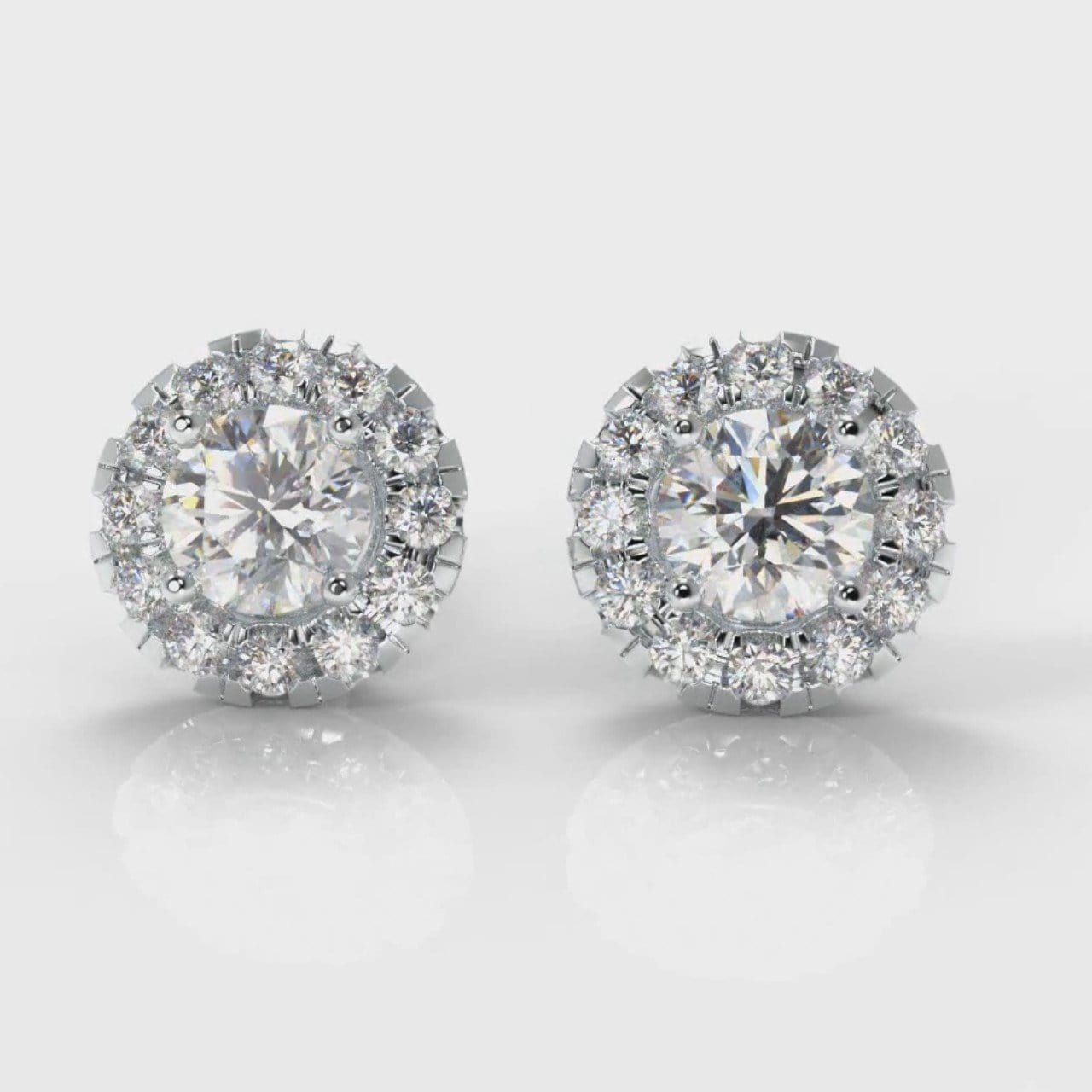 Halo Diamond Stud Earrings (GIA Certified)