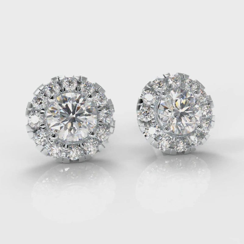 Halo Diamond Stud Earrings (Lab Grown Diamond)
