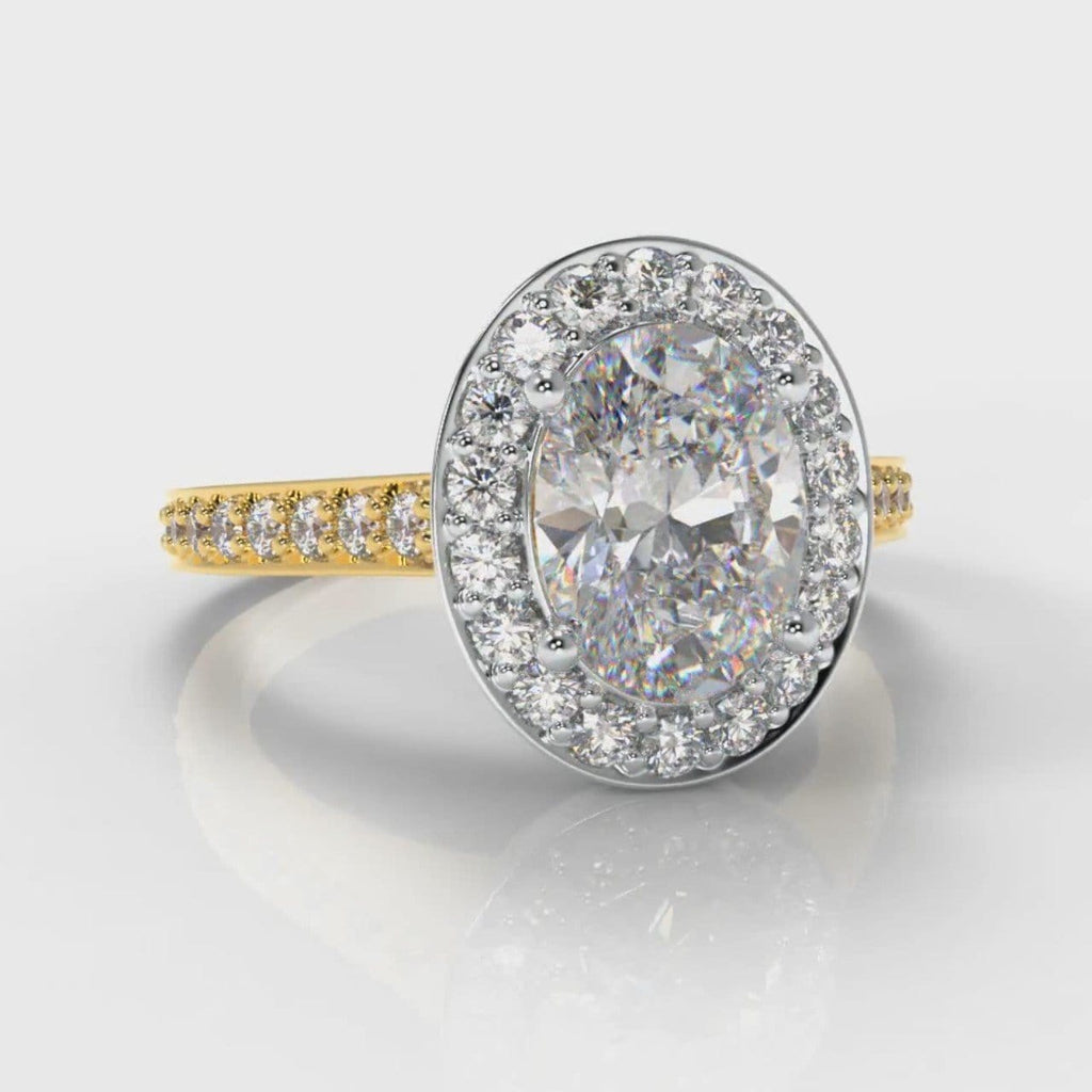 Pavé Oval Diamond Halo Engagement Ring - Two Tone Yellow Gold