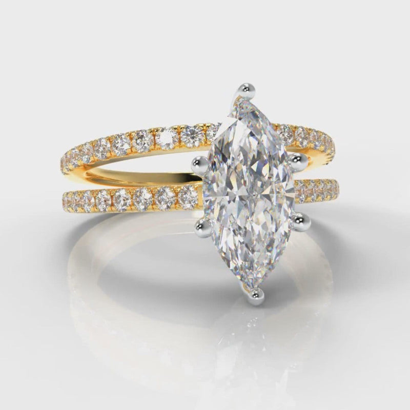 Star Petite Micropavé Marquise Diamond Bridal Set - Yellow Gold