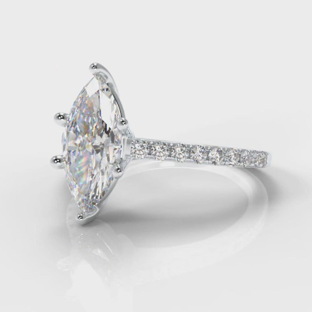 Star Petite Micropavé Marquise Diamond Engagement Ring