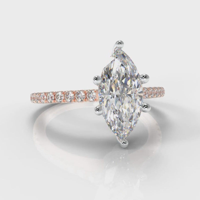 Star Petite Micropavé Marquise Diamond Engagement Ring - Rose Gold