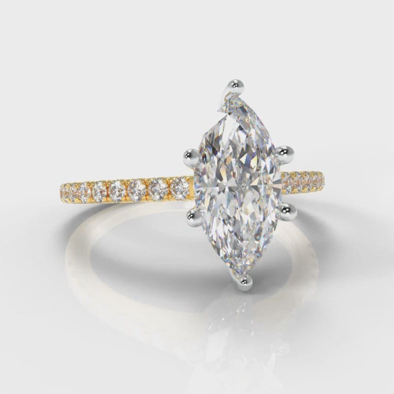 Star Petite Micropavé Marquise Diamond Engagement Ring - Yellow Gold