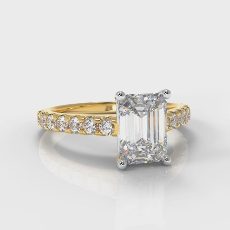 Carrée Micropavé Emerald Cut Diamond Engagement Ring - Yellow Gold