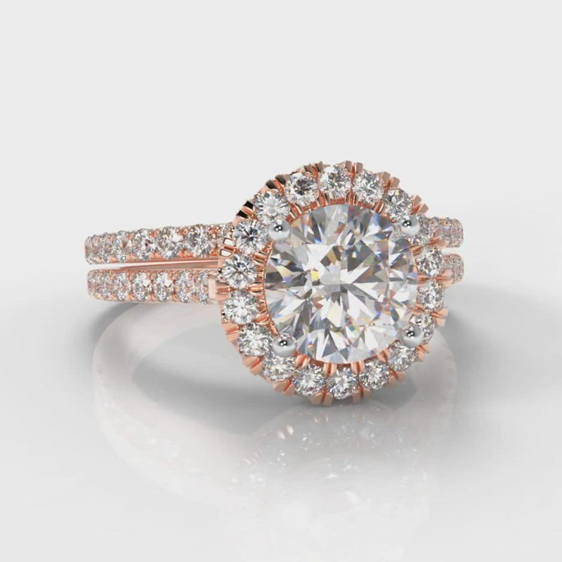 Petite Micropavé Round Brilliant Cut Diamond Halo Bridal Set - Rose Gold