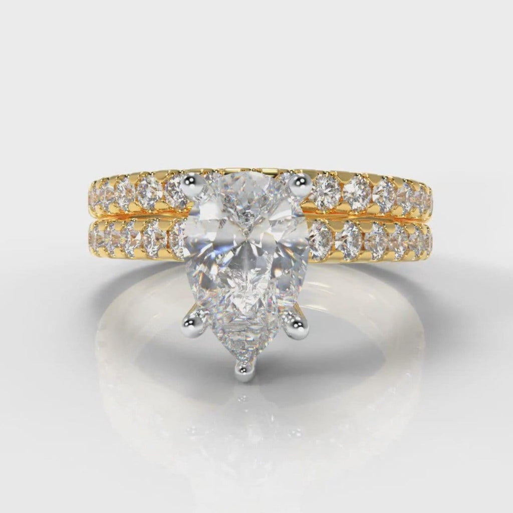 Micropavé Pear Diamond Bridal Set - Yellow Gold