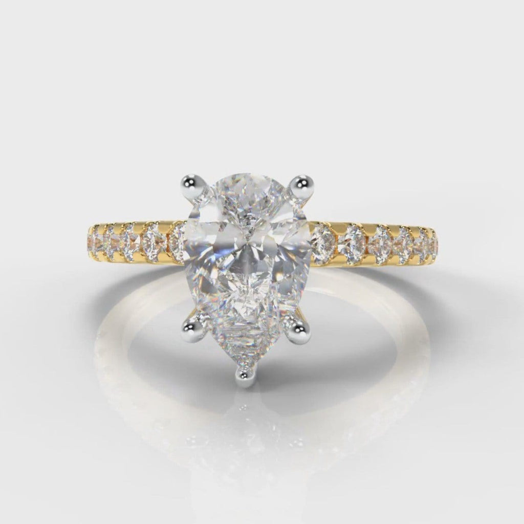 Micropavé Pear Diamond Engagement Ring - Yellow Gold