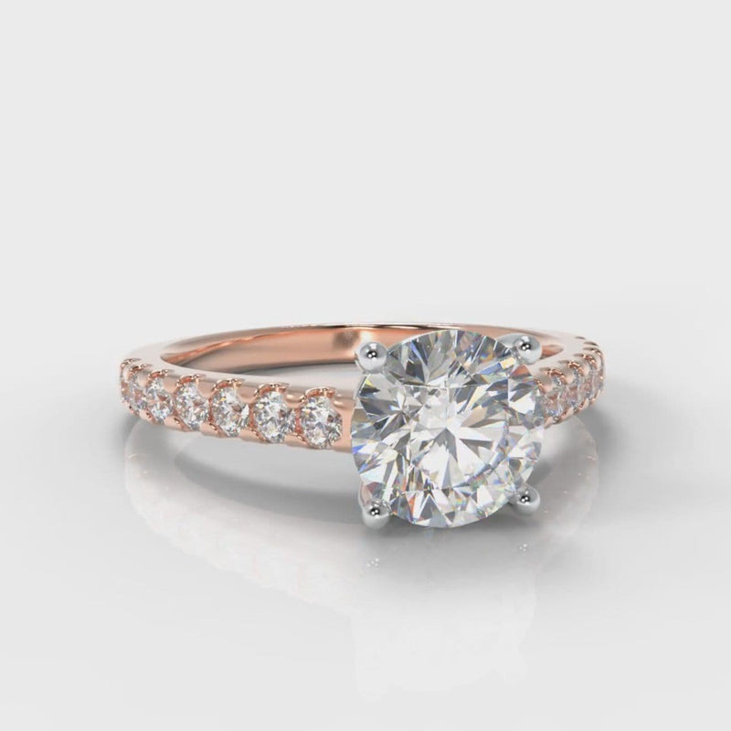 Carrée Micropavé Round Brilliant Engagement Ring - Rose Gold