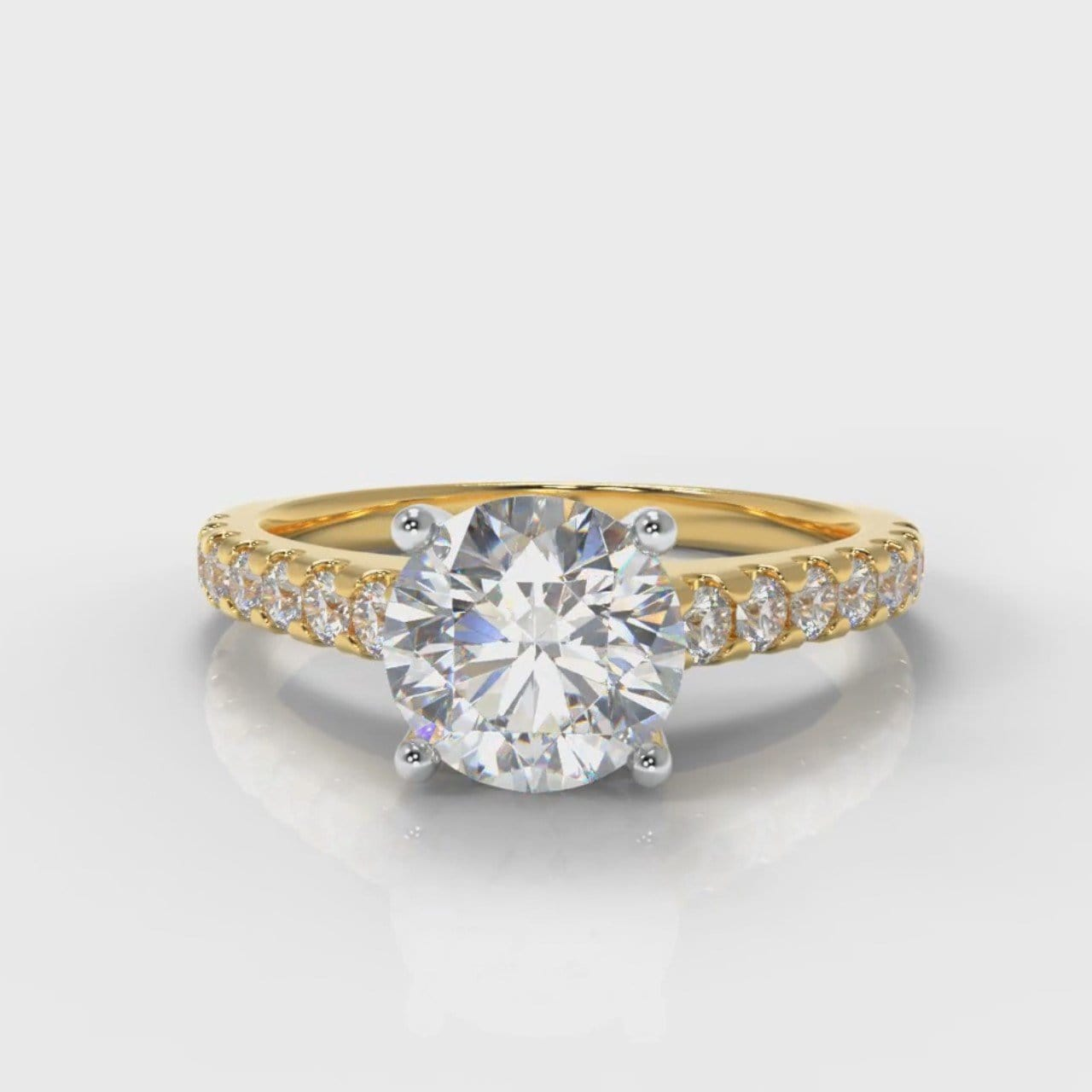 Carrée Micropavé Round Brilliant Diamond Engagement Ring - Yellow Gold