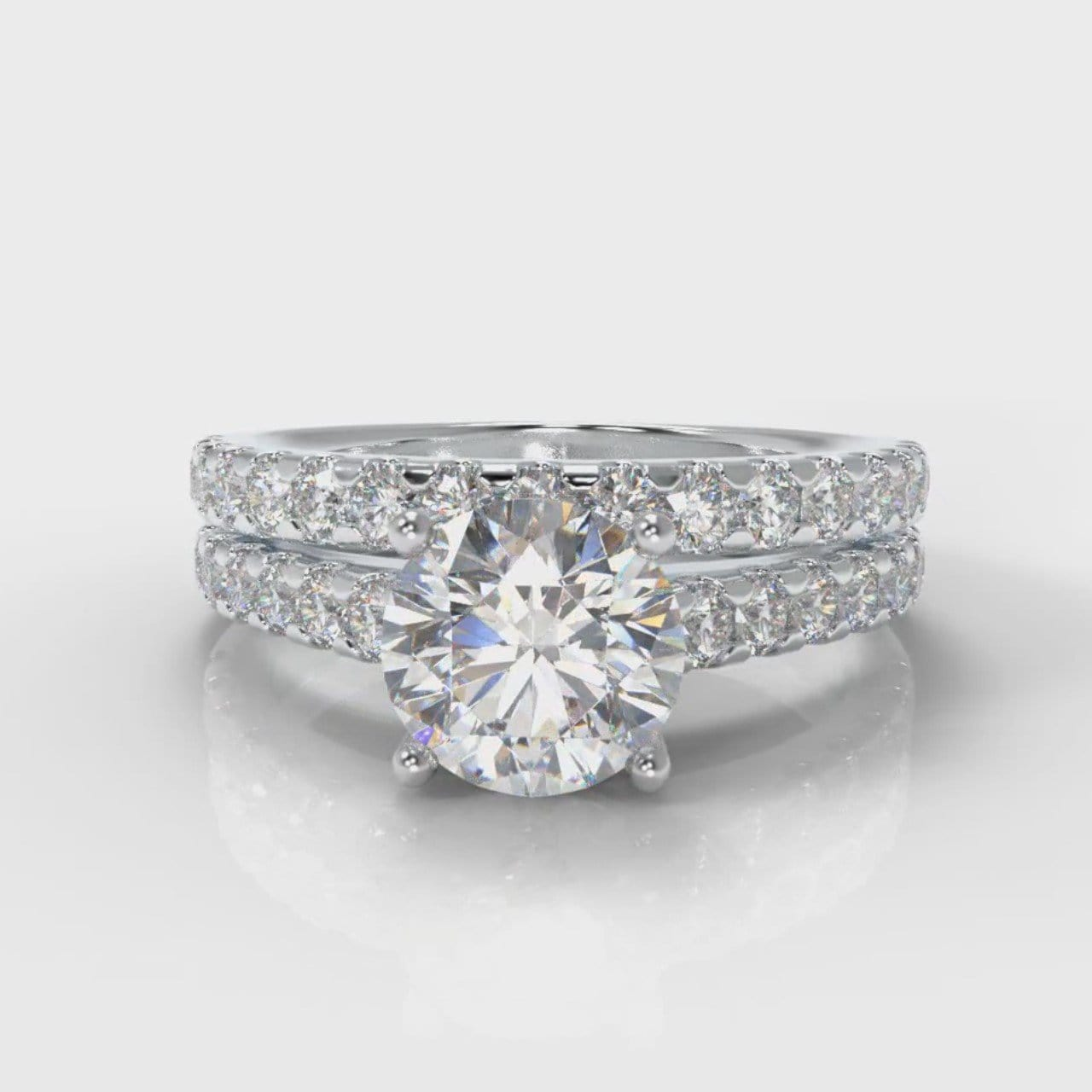 Carrée Micropavé Round Brilliant Bridal Set
