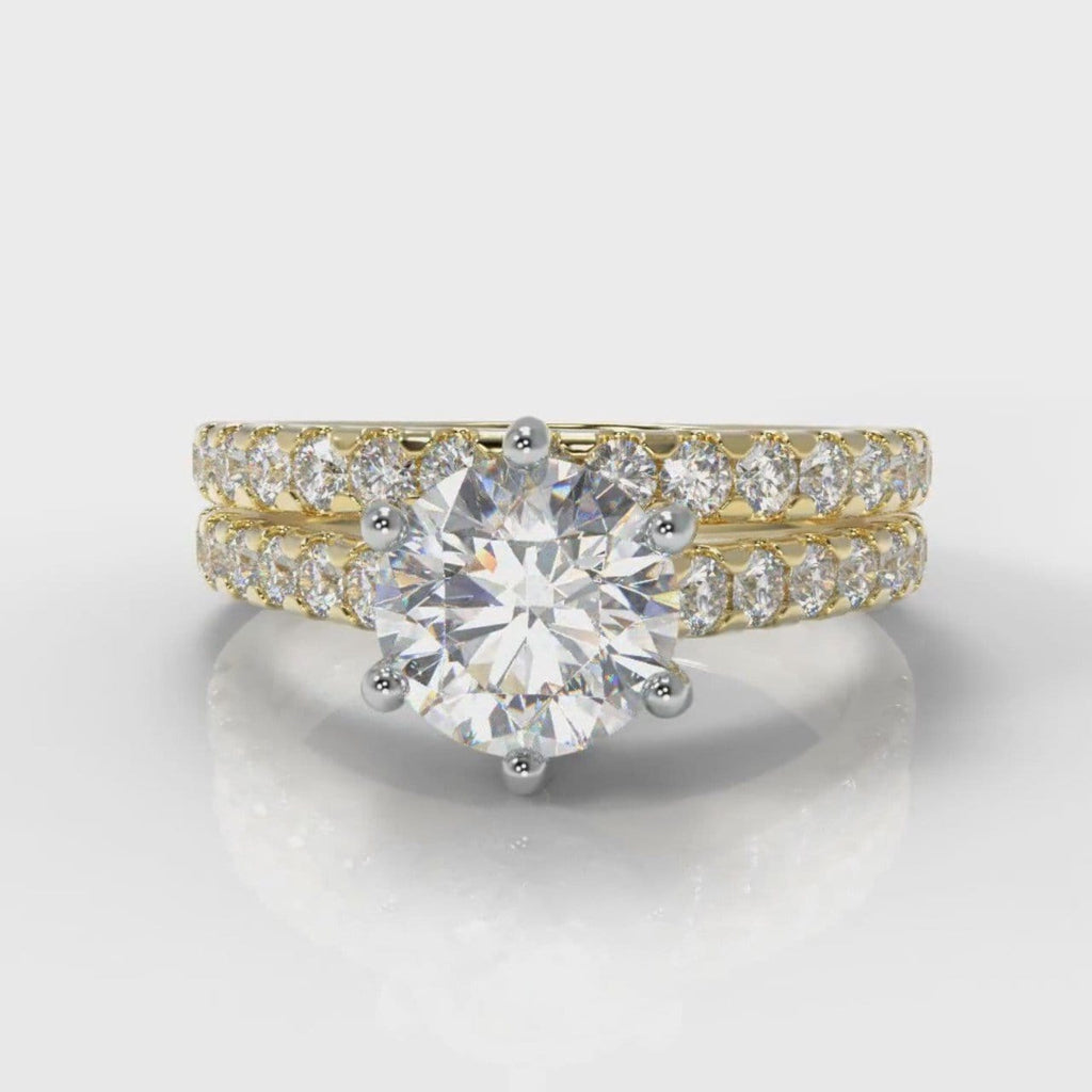 Star Micropavé Round Brilliant Bridal Set - Yellow Gold
