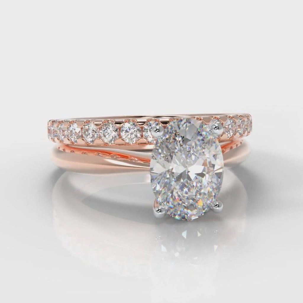 Carrée Solitaire Oval Diamond Bridal Set - Rose Gold