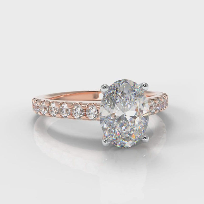 Carrée Micropavé Oval Diamond Engagement Ring - Rose Gold