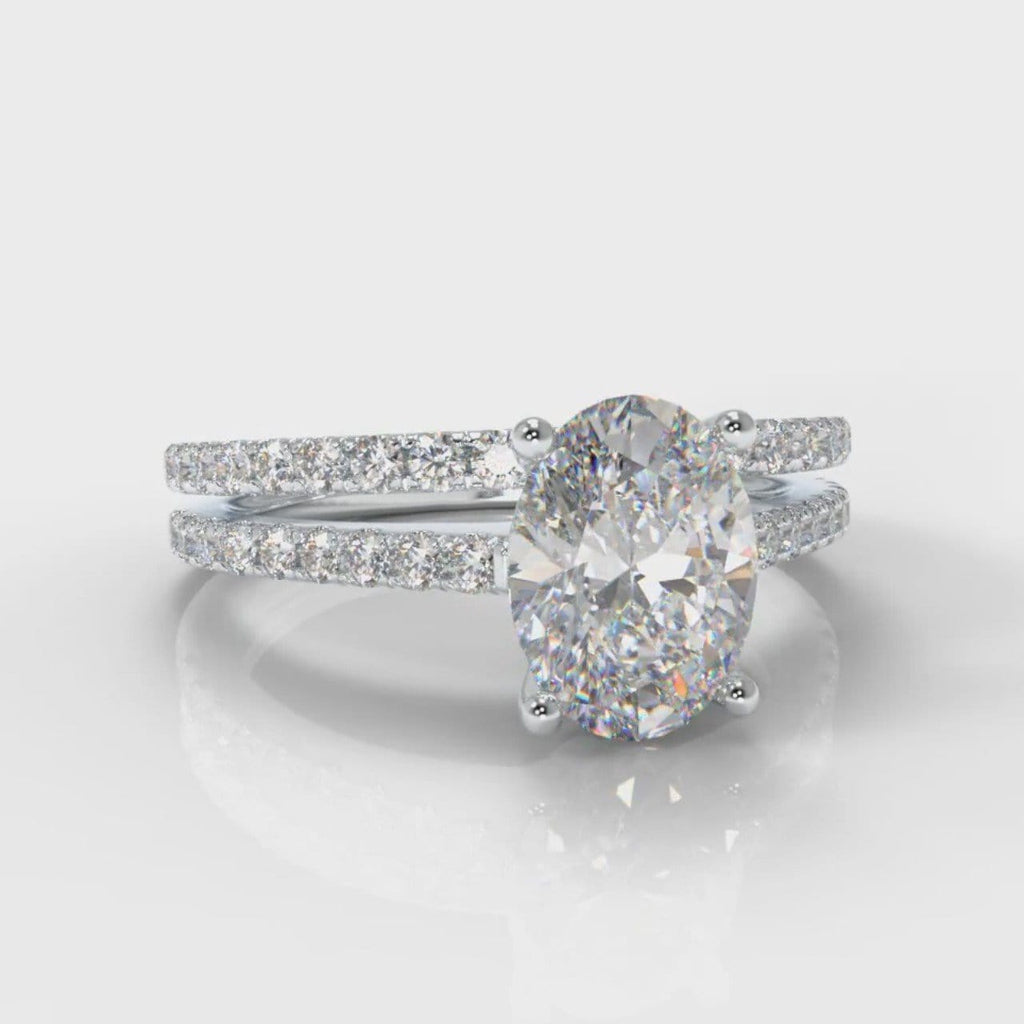 Petite Micropavé Oval Diamond Bridal Set