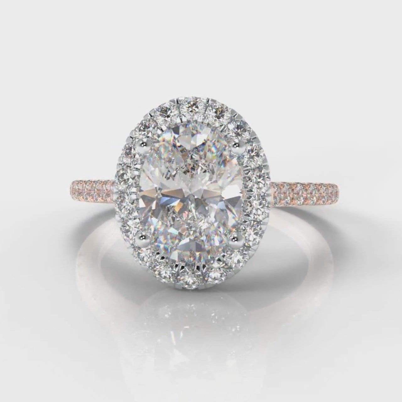 Petite Micropavé Oval Diamond Halo Engagement Ring - Two Tone Rose Gold