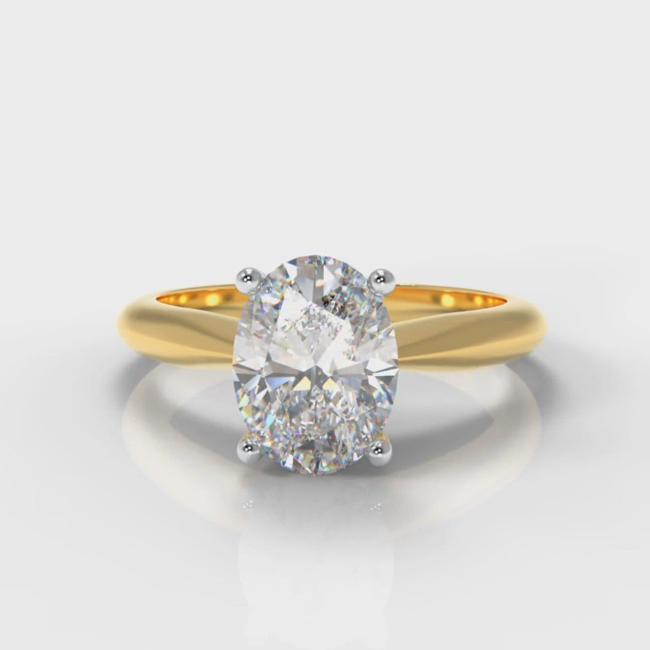 Carrée Solitaire Oval Diamond Engagement Ring - Yellow Gold