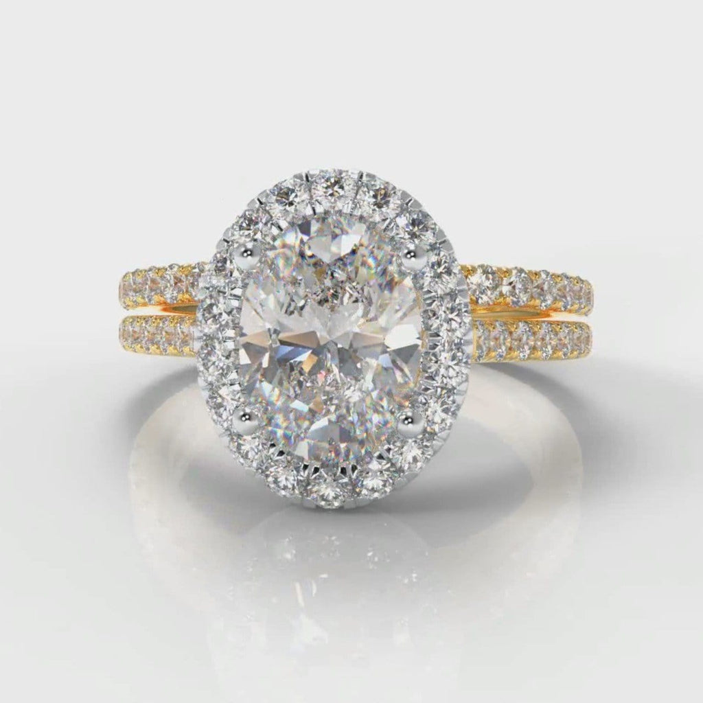 Petite Micropavé Oval Diamond Halo Bridal Set - Two Tone Yellow Gold
