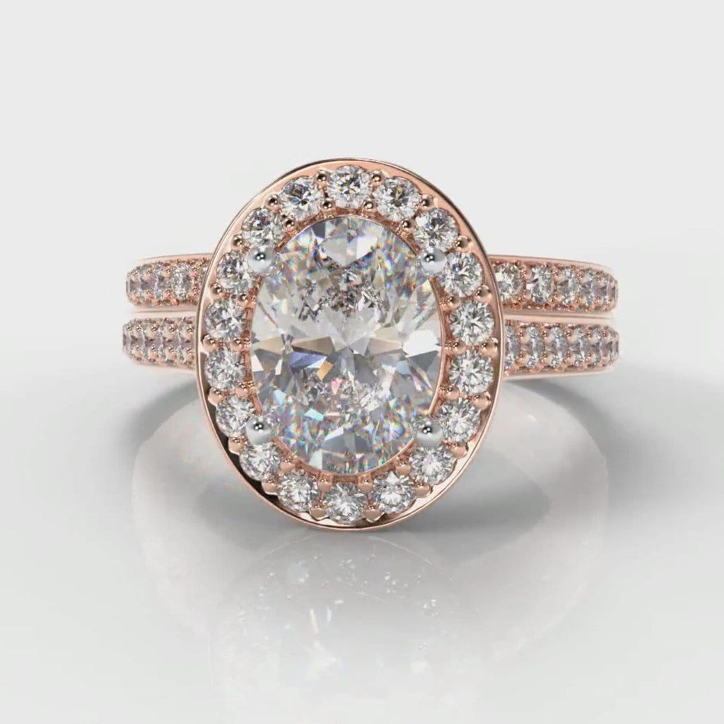Pavé Oval Diamond Halo Bridal Set - Rose Gold