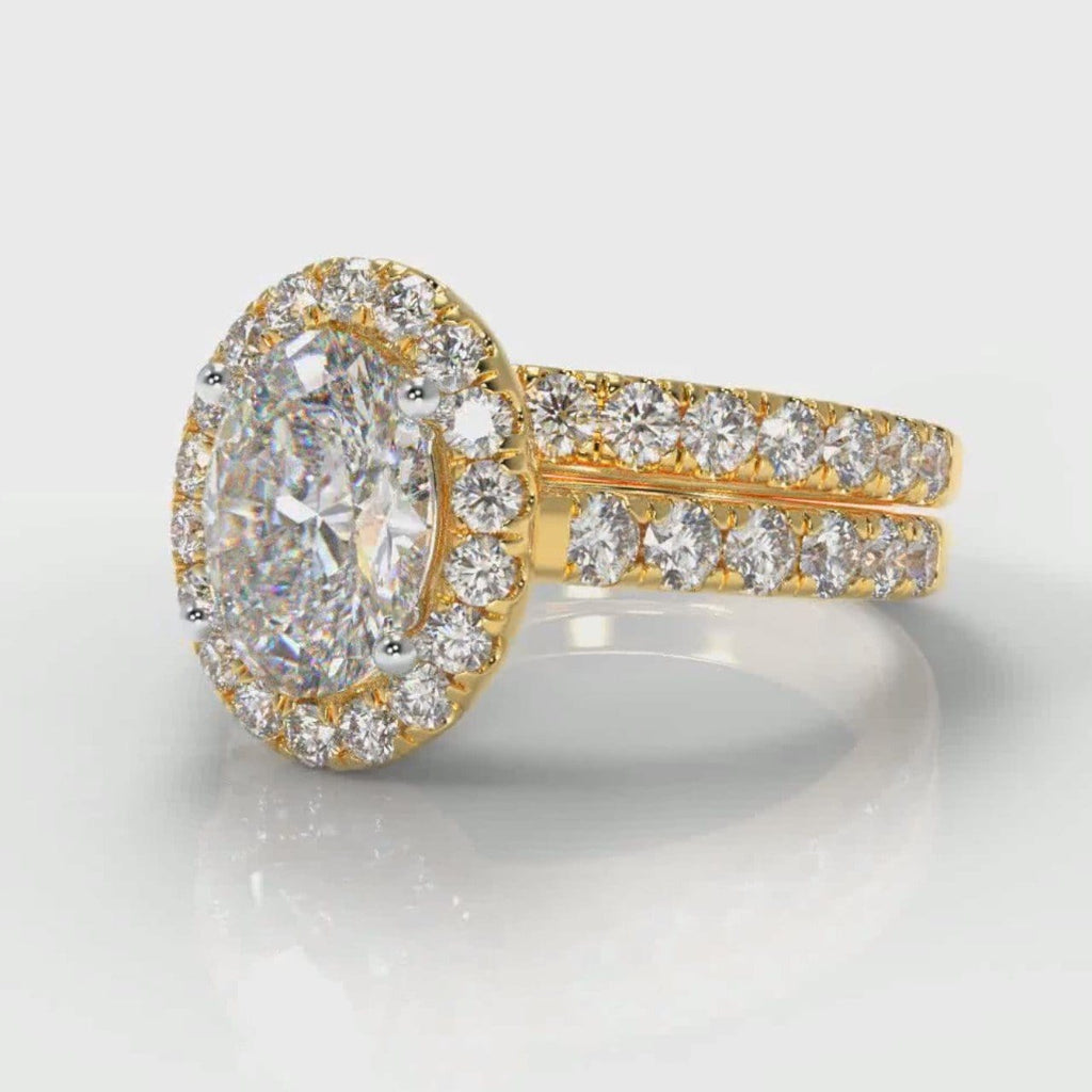 Micropavé Oval Diamond Halo Bridal Set - Yellow Gold