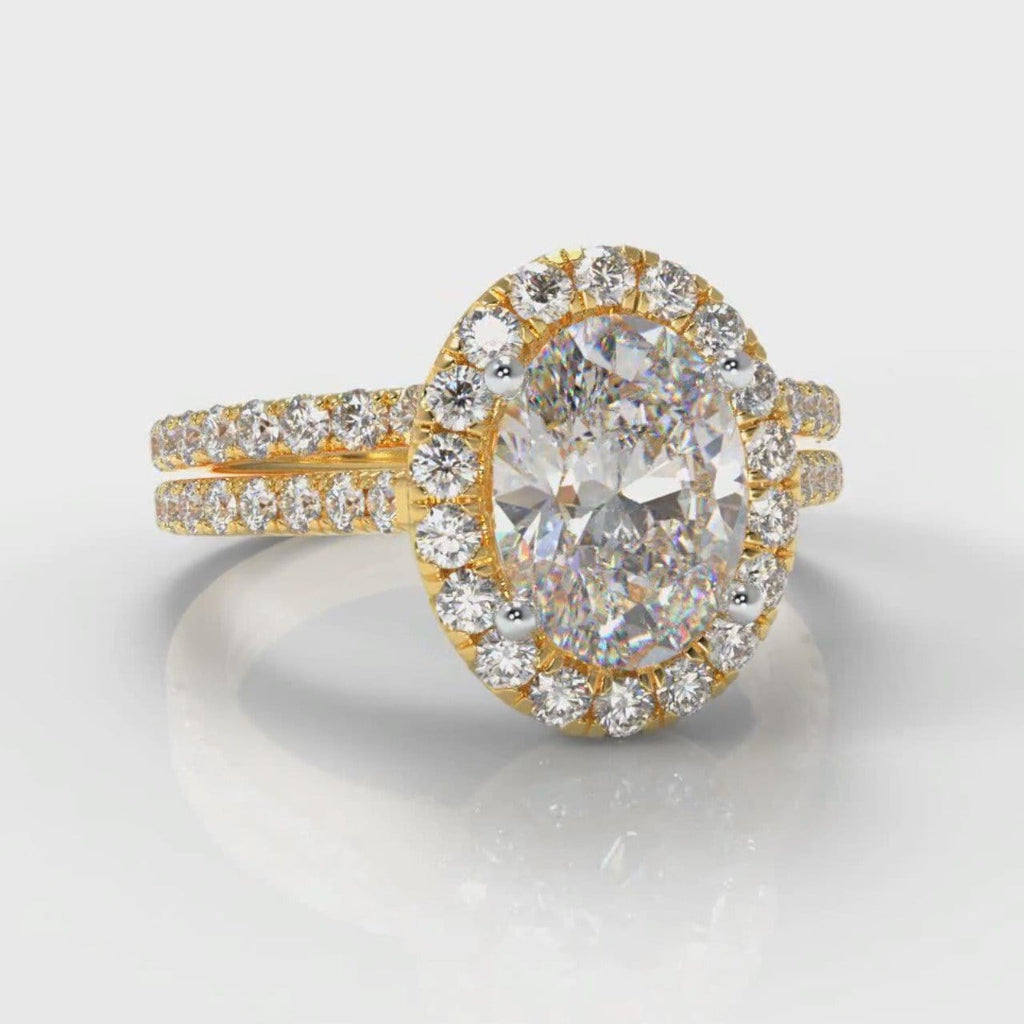 Petite Micropavé Oval Diamond Halo Bridal Set - Yellow Gold
