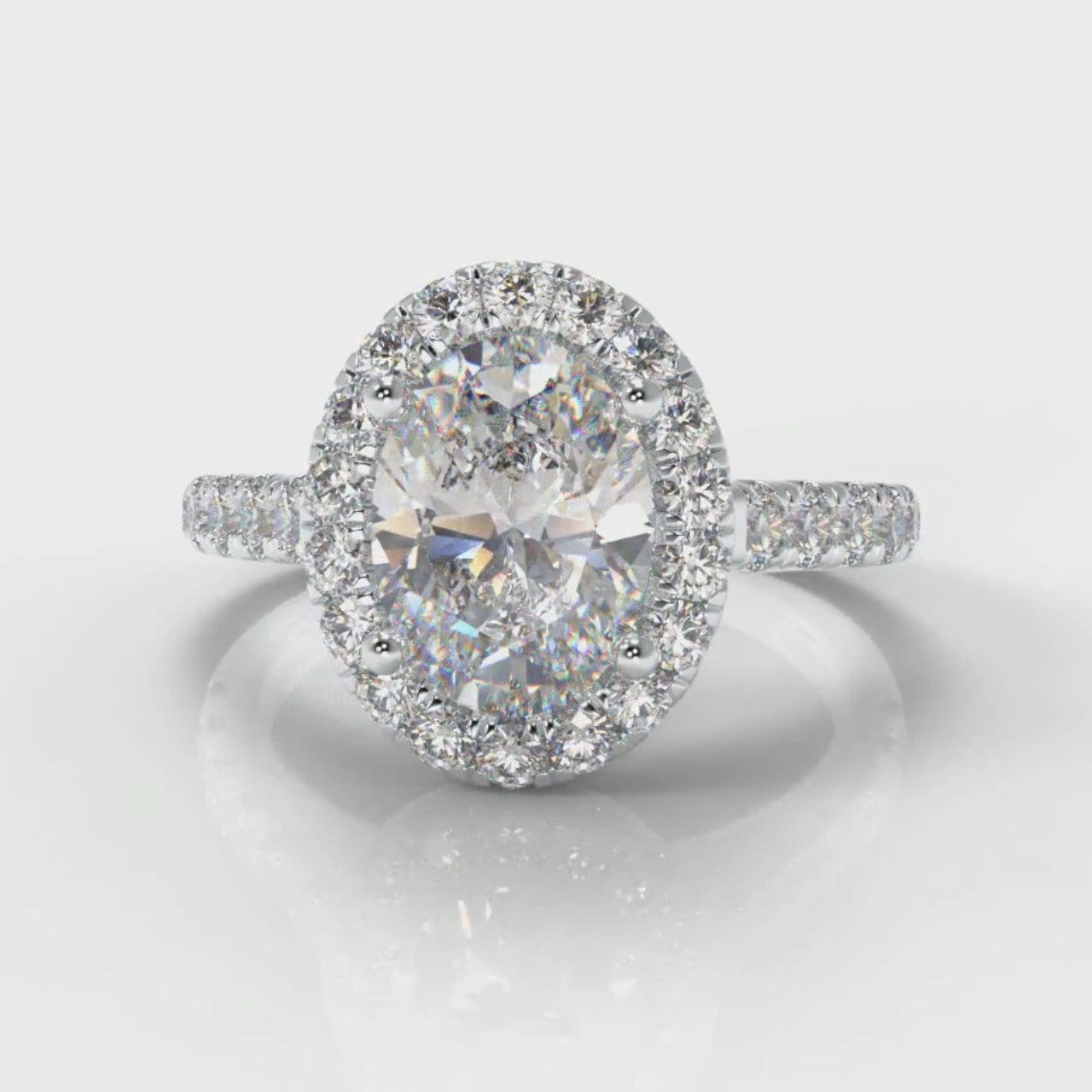 Micropavé Oval Diamond Halo Engagement Ring