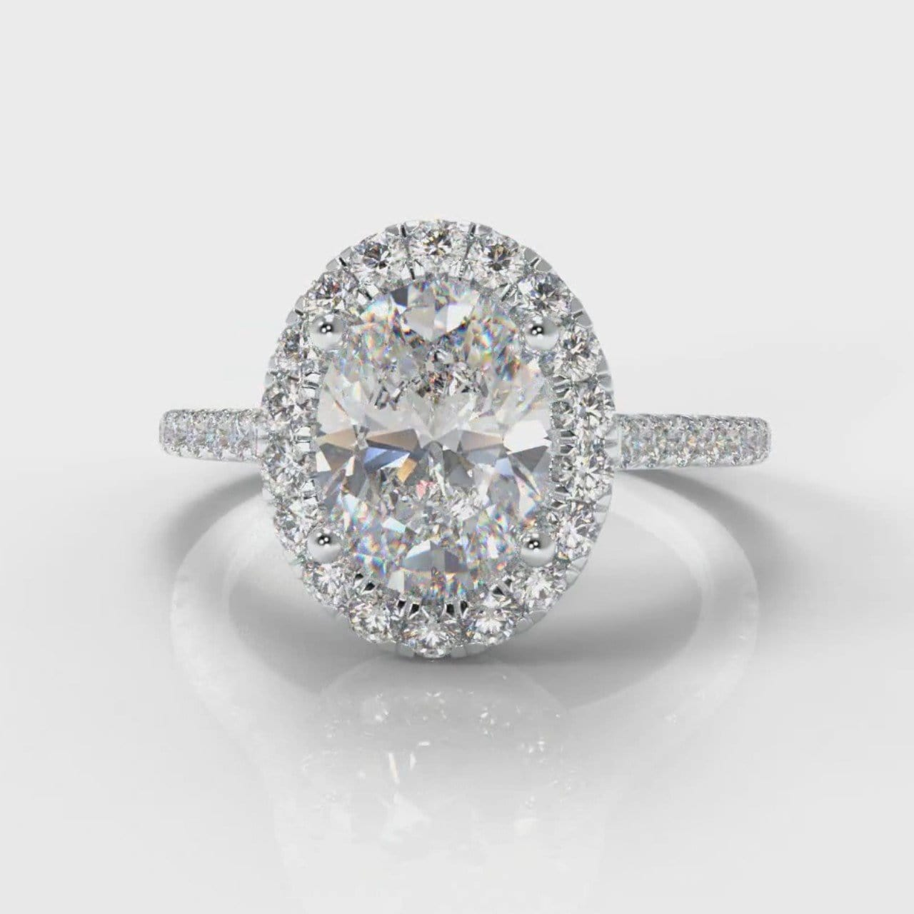 Petite Micropavé Oval Diamond Halo Engagement Ring