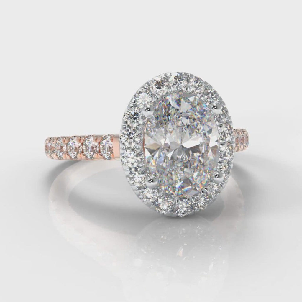 Micropavé Oval Diamond Halo Engagement Ring - Two Tone Rose Gold