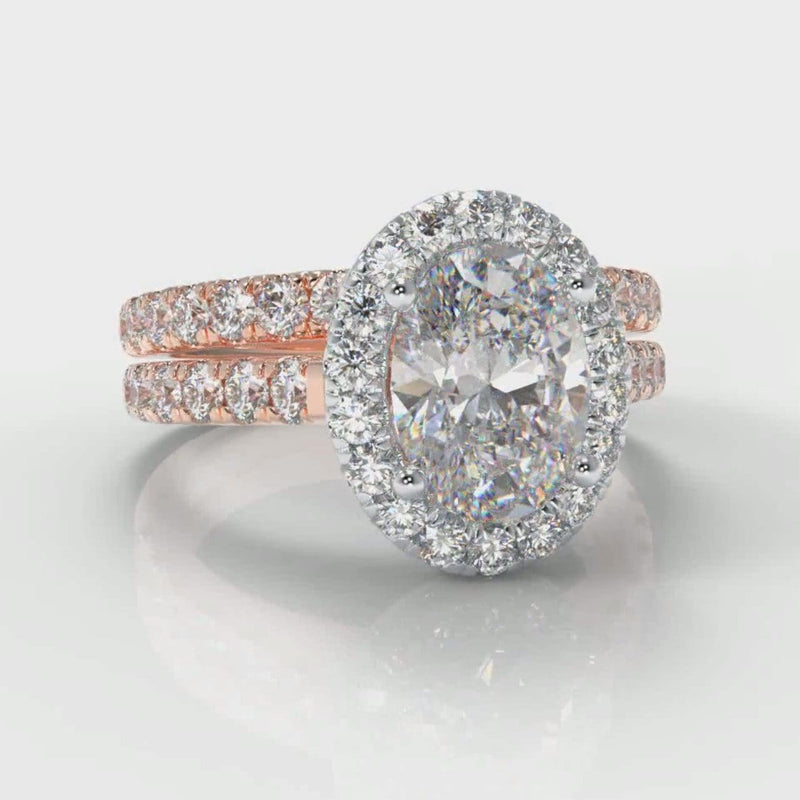 Micropavé Oval Diamond Halo Bridal Set - Two Tone Rose Gold