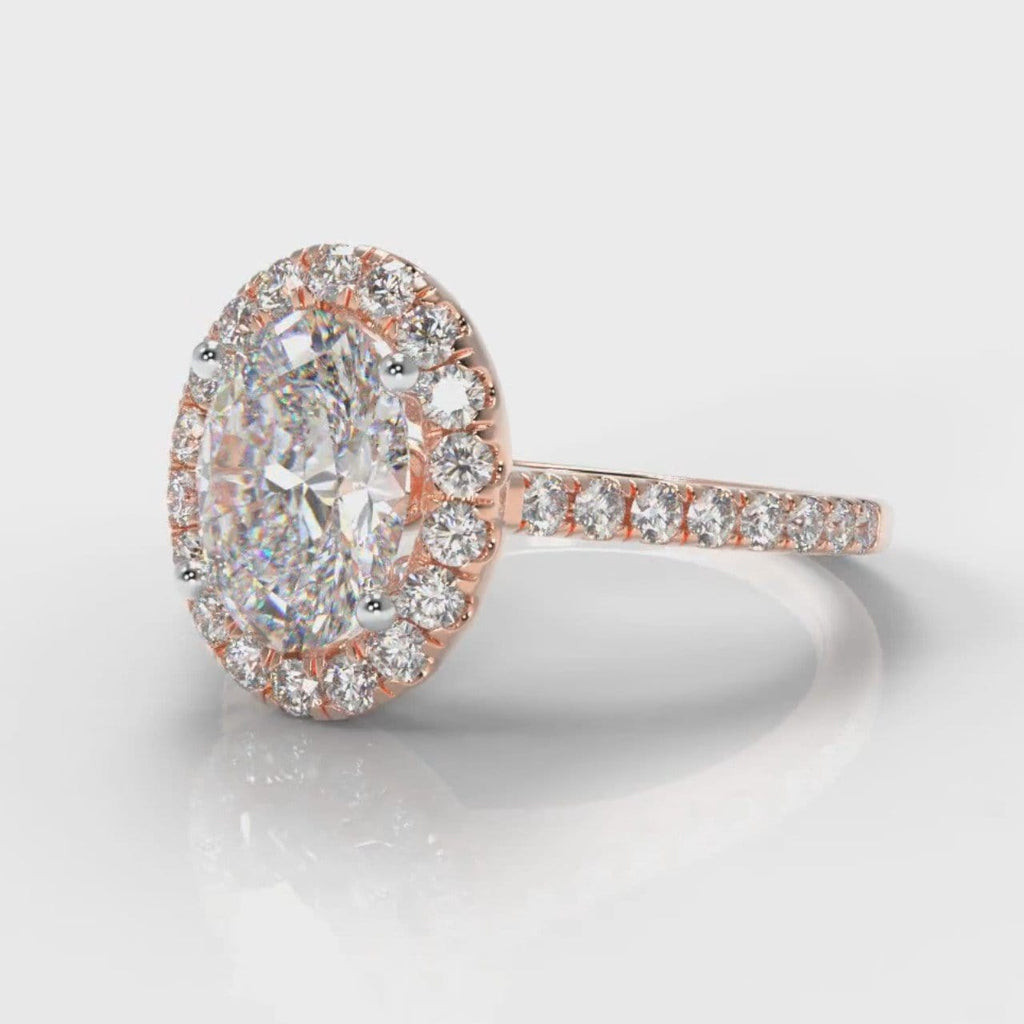 Petite Micropavé Oval Diamond Halo Engagement Ring - Rose Gold