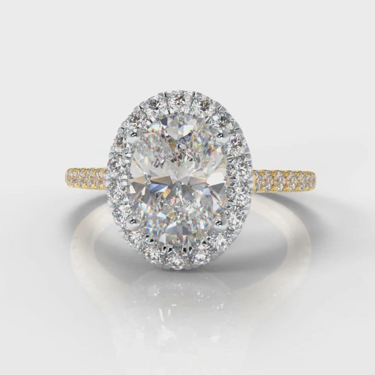 Petite Micropavé Oval Diamond Halo Engagement Ring - Two Tone Yellow Gold