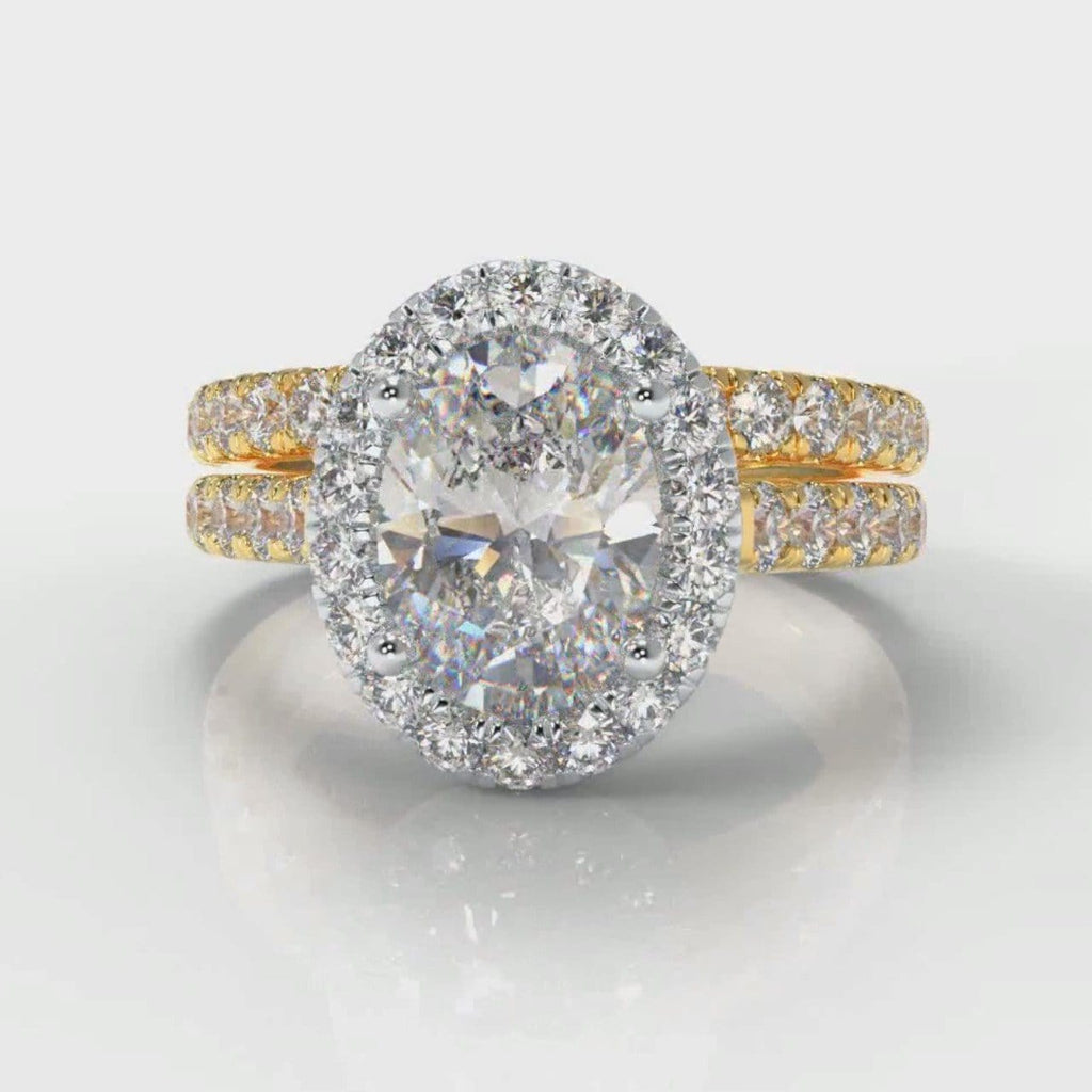 Micropavé Oval Diamond Halo Bridal Set - Two Tone Yellow Gold
