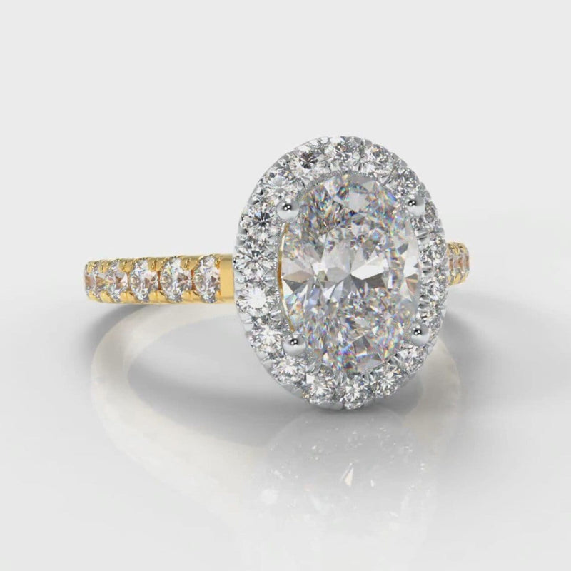 Micropavé Oval Diamond Halo Engagement Ring - Two Tone Yellow Gold