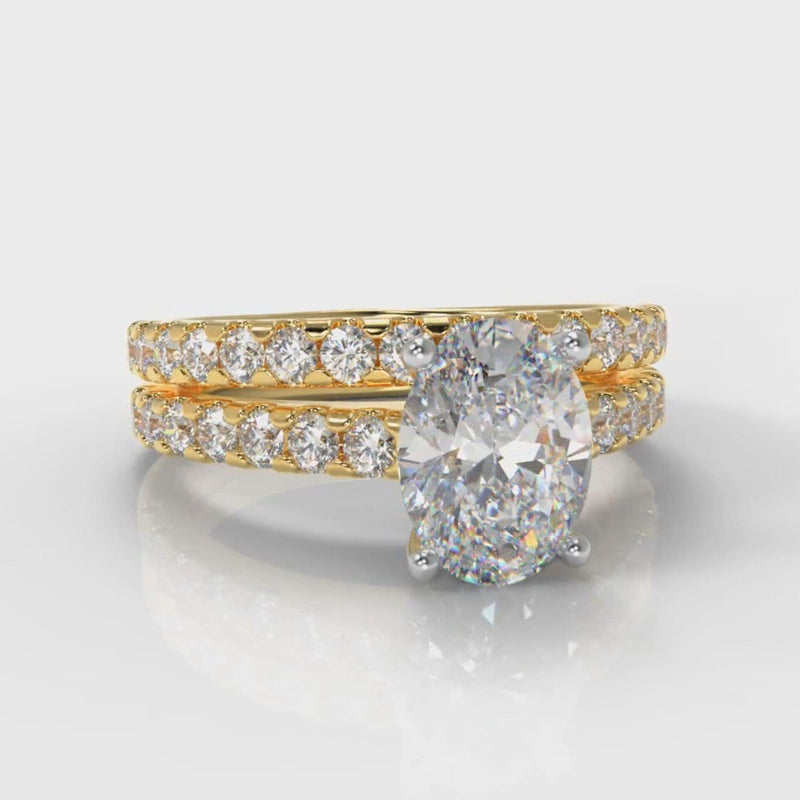 Carrée Micropavé Oval Diamond Bridal Set - Yellow Gold