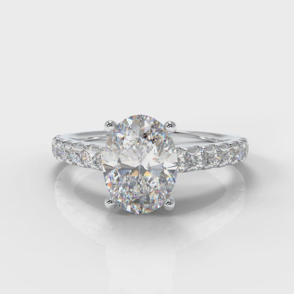 Carrée Micropavé Oval Diamond Engagement Ring