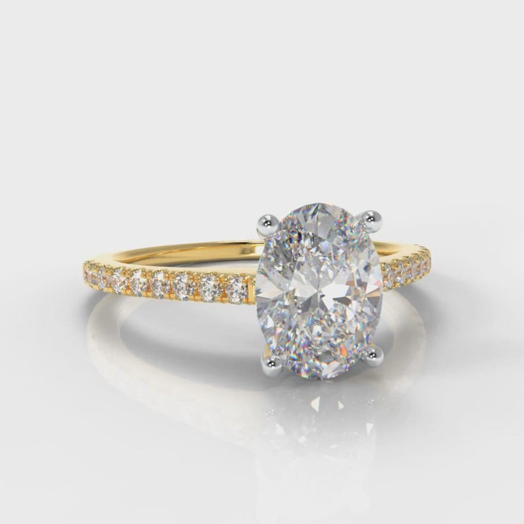 Petite Micropavé Oval Diamond Engagement Ring - Yellow Gold