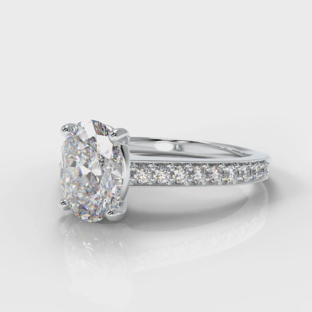 Pavé Oval Diamond Engagement Ring
