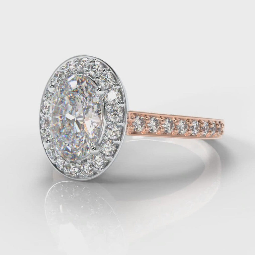 Pavé Oval Diamond Halo Engagement Ring - Two Tone Rose Gold