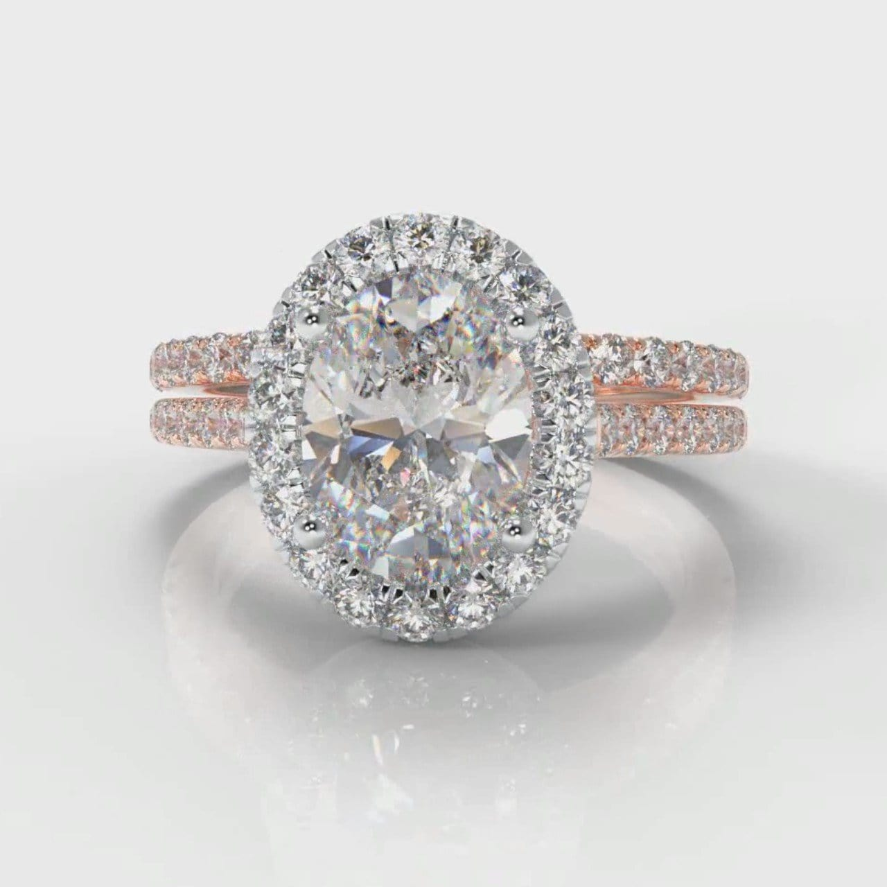 Petite Micropavé Oval Diamond Halo Bridal Set - Two Tone Rose Gold