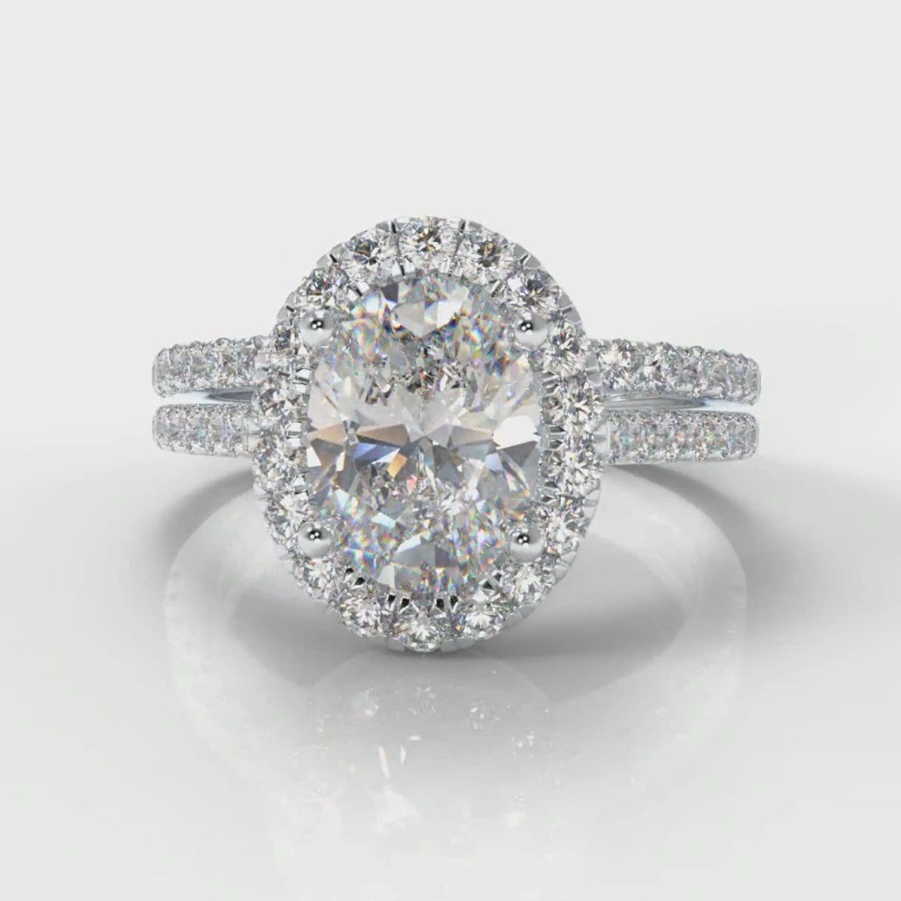 Petite Micropavé Oval Diamond Halo Bridal Set