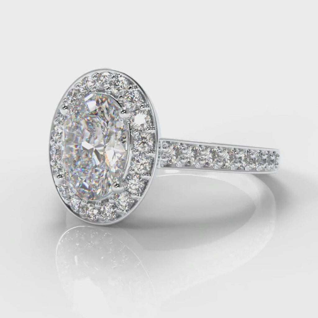 Pavé Oval Diamond Halo Engagement Ring