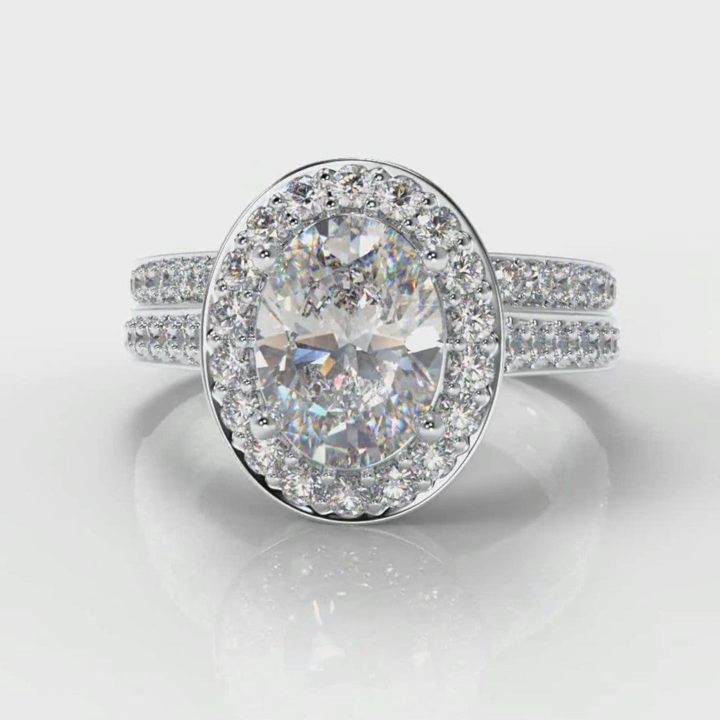 Pavé Oval Diamond Halo Bridal Set