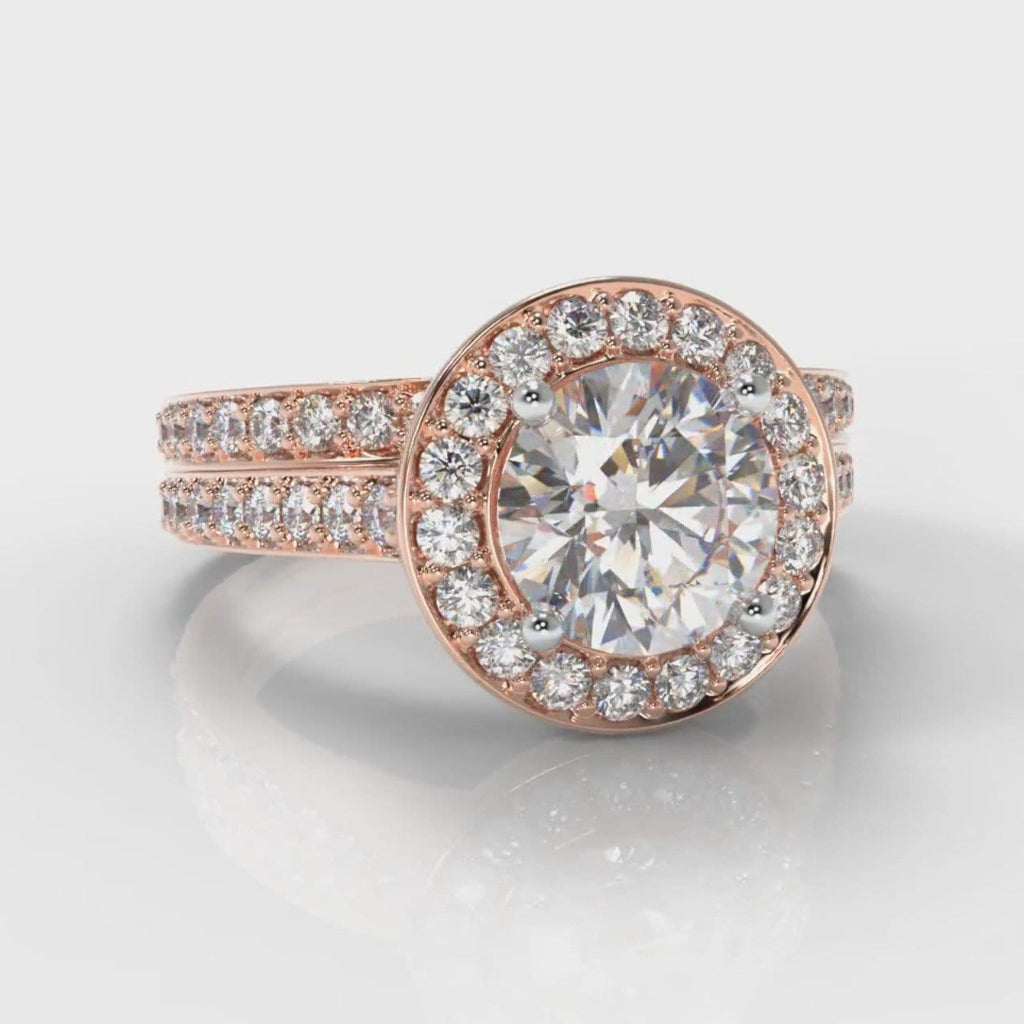 Pavé Round Brilliant Diamond Halo Bridal Set - Rose Gold