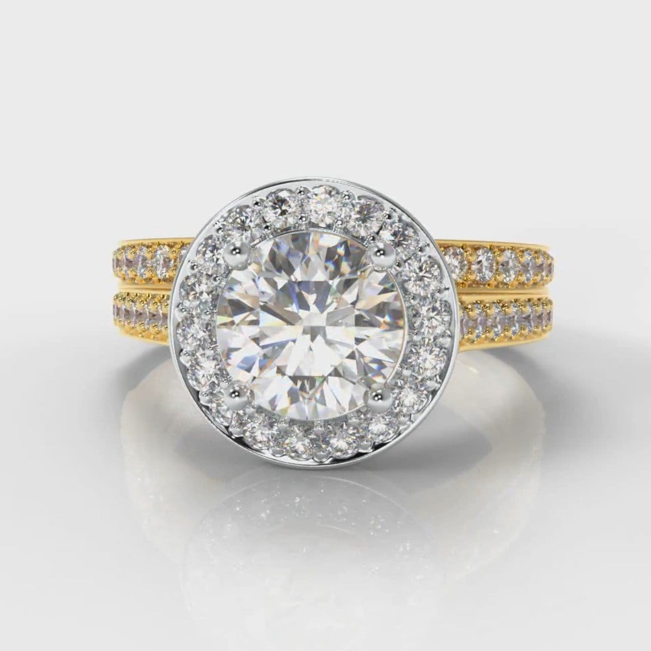 Pavé Round Brilliant Diamond Halo Bridal Set - Two Tone Yellow Gold