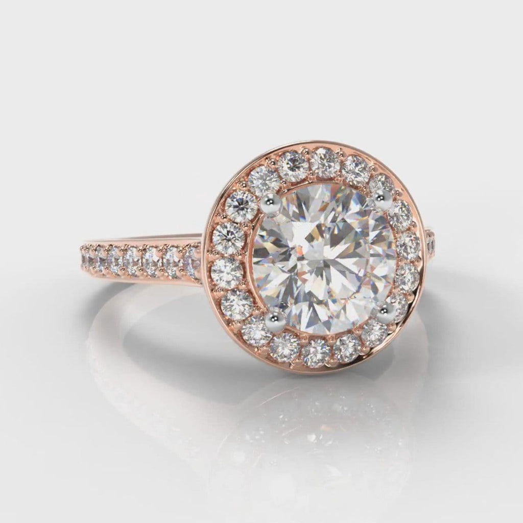 Pavé Round Brilliant Diamond Halo Engagement Ring - Rose Gold