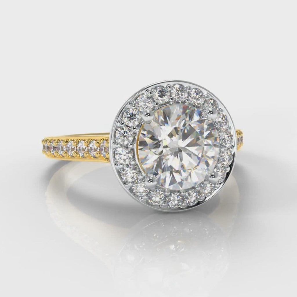 Pavé Round Brilliant Diamond Halo Engagement Ring - Two Tone Yellow Gold