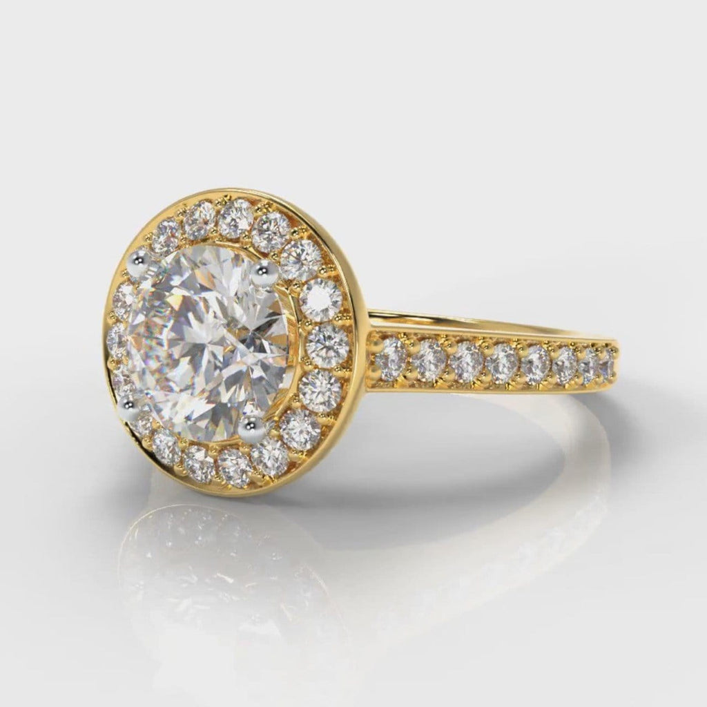 Pavé Round Brilliant Diamond Halo Engagement Ring - Yellow Gold